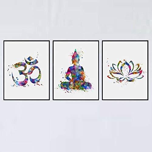 Buddha Wall Art Lotus Flower Art Print Yoga Watercolor OM Yoga Painting Wall Decor Home Decor Painting Gift Set of 3 Prints 8x10 inch Unframed