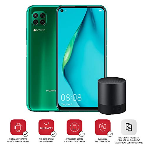 "HUAWEI P40 Lite Smartphone e Mini Bluetooth Speaker, Display Punch FullView da 6.4"", Kirin 810 Octa Core, Verde (Versione Italiana)"