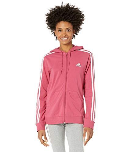 adidas Womens Essentials Full-Zip Hoodie Wild Pink/White X-Large