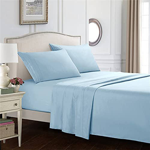 GSOEJ Bedsheets Sets 3 Or 4 Piece Extra Soft Deep Pocket Wrinkle And Fade Resistant Flat Sheet Fitted Sheet Pillowcases Light blue TWIN (Three pieces)