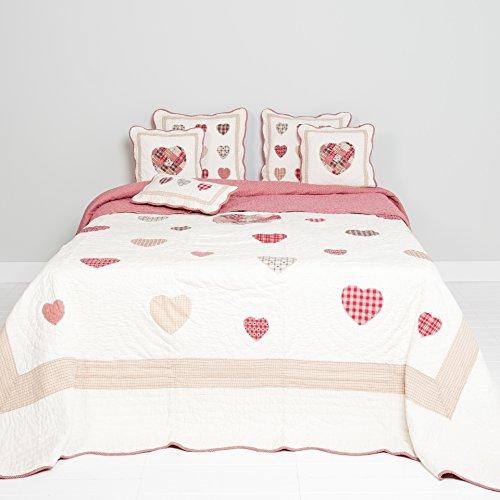 Clayre & Eef Q063.060 Couvre-lit avec cœurs 180 x 260 cm