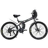 Hyuhome Ebikes para Adultos, Bicicleta Plegable eléctrica MTB Dirtbike, 26' diseño Impermeable 48V 10Ah 350W IP54, fácil Almacenamiento Plegables Bicicletas eléctricas para Hombres,Negro