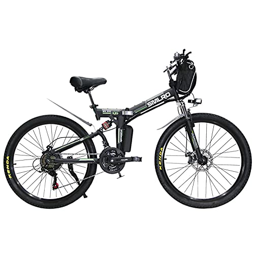 Hyuhome Ebikes for Adults,Folding Electric Bike MTB Dirtbike,26' 48V 10Ah 350W IP54 Waterproof Design,Easy Storage Foldable Electric Bycicles for Men,Black