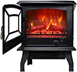 OCDAY 20 inch H1400w Infrared Electric Fireplace Stove Freestanding with Thermostat Knob Low Decibel Portable Indoor Electric Fireplace Heater with Realistic 3D Flames Vintage Design
