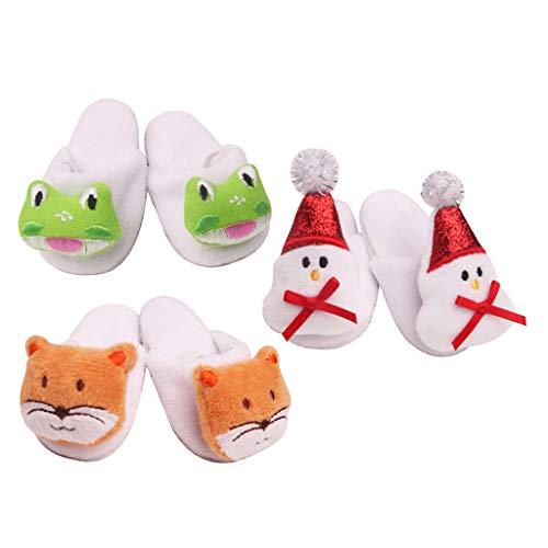 Generic Pantofole per Bambole con Animali in Pile Casual Scarpe Giocattolo per Bambini per Bambola Americana da 18 '