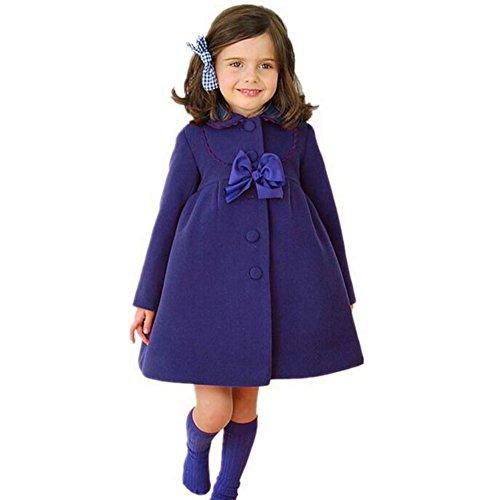 Fashion Trenchcoat Mädchen Dick Warm Winterjacke mit Niedlich Bowknot Prinzessin Taste Herbst Winter Mantel Windbreaker Blau / 110