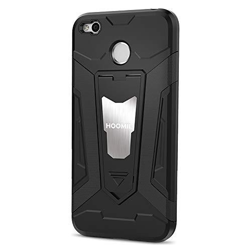 HOOMIL Stoßfest Silikon Schutzhülle für Xiaomi Redmi 4X Hülle mit Magnetisch Ständer Case Handyhülle (Schwarz)