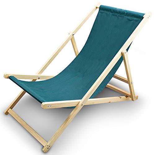 BITUXX® Liegestuhl Sonnenliege Gartenliege Holzliege Strandliegestuhl Holz Klappbar (Grün)