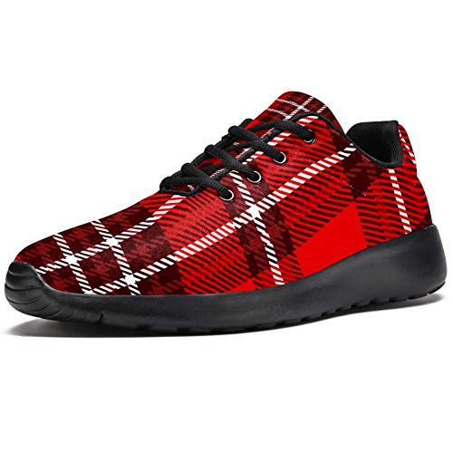 TIZORAX Zapatillas de correr para hombre, color rojo y blanco, a cuadr