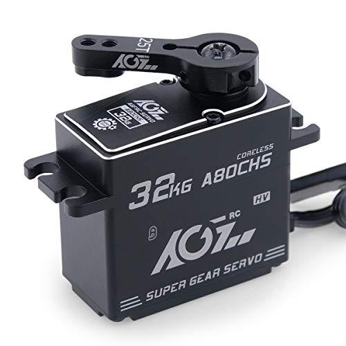 AGFrc 32KG Steering Digital Servo High Torque Programmable Full CNC Metal Gear for 1/10 RC Truck Crawler, 180 Degrees(A80CHS)