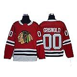 Yajun Griswold #00 Chicago Blackhawks Camisetas Hockey Jersey sobre Hielo NHL Hombre Ropa Mujer T-Shirt de Manga Larga,Red,Men-M