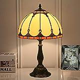 FHKBK Lámpara de Mesa mediterránea clásica, Estilo Tiffany, lámpara de Escritorio con Pantalla de Vidrio teñido de 12 Pulgadas, lámpara de Dormitorio ámbar para Sala de Estar, mesita de
