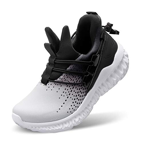 FEETCITY Boys Girls Sneakers Tennis Shoe Lightweight Breathable Athletic Running Shoes for Kids Non-Slip 12 Little Kid Blackwhite