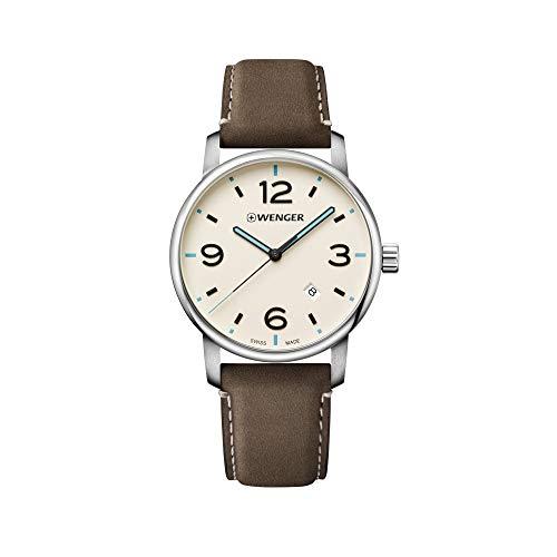 Wenger Hombre Urban Metropolitan - Reloj de Acero Inoxidable/Cuero de Cuarzo analógico de fabricación Suiza 01.1741.118