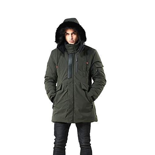WEEN CHARM Men's Warm Parka Jacket Anorak Jacket Winter Coat with Detachable Hood Faux-Fur Trim (Army Green, M)