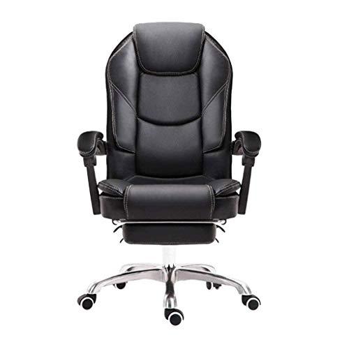 FMOGE Bürostuhl Stuhl Schreibtischstuhl Home Office Stühle, 170 & Deg;Reclinable Design Doppelte Rückenlehne Liegendes Schwammkissen Pu-Leder Elevating Rotary Black Gaming Chair