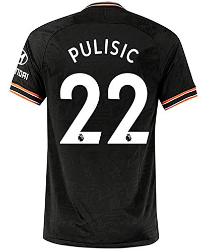 HFSOCCER Christian Pulisic NO.22 Jersey Chelsea 2019-2020 Mens Third Away Jerseys Black (S)