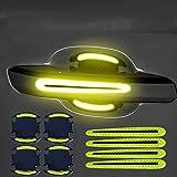 WXJZ Set de 8 Protectores para manija de Puerta 3D Fibra de Carbono A Prueba de Agua Láminas Protectoras Brillante Autoadhesiva Pegatina para vehículo,Light Yellow