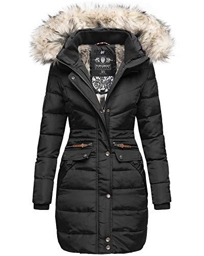 Navahoo Damen Winter Jacke Mantel Parka warm gefütterte Winterjacke B383 [B383-Paula-Schwarz-Gr.XXL]