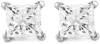 2 Carat 18K White Gold Solitaire Diamond Stud Earrings Princess Cut 4 Prong Push Back (I-J Color, I3 Clarity)