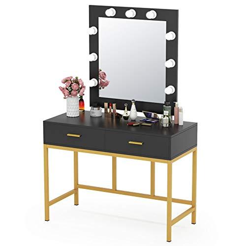 Tribesigns Vanity Table with Lighted Mirror, Makeup Vanity Dressing Table with 9 Lights and 2 Drawers for Women, Dresser Desk Vanity Set for Bedroom, Gold (Black)