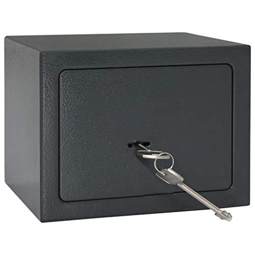 vidaXL Caja Fuerte Mecánica Seguridad Esconder para Pared Suelo Casa Oficina Protección Robos Ladrones de Acero Gris Oscuro 23x17x17 cm