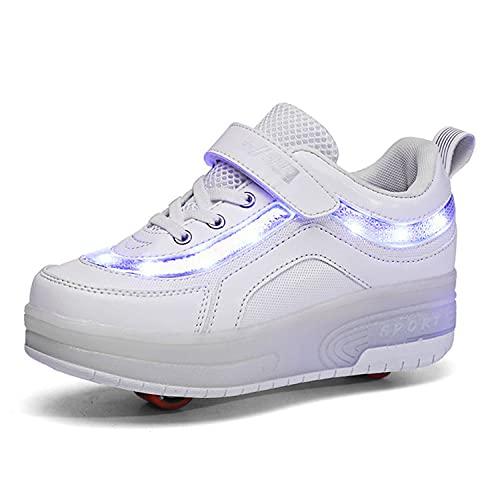 Super kids Enfants LED Chaussures avec roulettes LED Lumières Clignotante Patins à roulettes Fille Garçon Chaussures de Skateboard Outdoor Gymnastique Mode Baskets avec Roues et USB Rechargeable