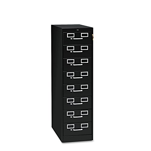 Tennsco CF846BK Eight-Drawer File Cabinet for 3 x 5 & 4 x 6 Cards, 15w x 52h, Black