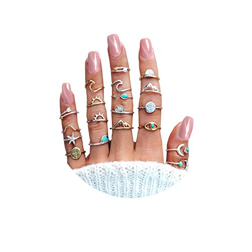 FUTIMELY 19PCS Boho Turquoise Knuckle Stacking Rings for Women Girls Vintage Stackable Star Moon Wave Peak Sea Rhinestone Joint Midi Finger Rings Set