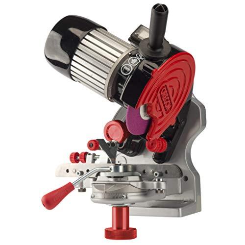 Oregon 410-230 Schleifgerät Halbprofi 230 Volt ohne hydraulische Klemmhilfe für alle Kettensägeketten, grau, schwarz, rot