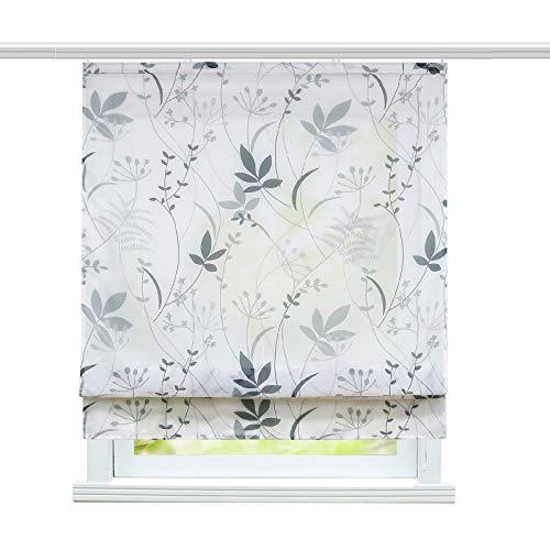 ESLIR Raffrollo Wohnzimmer Raffgardine mit Klettband Gardinen Küche Transparent Bändchenrollo Modern Voile Blatt Muster BxH 120x140cm 1 Stück
