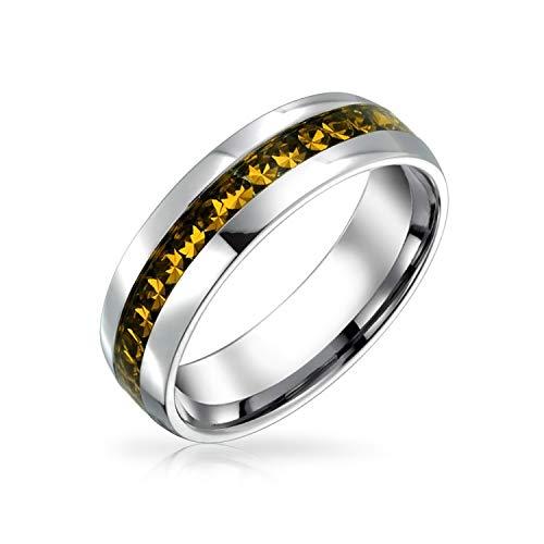 Bling Jewelry Noviembre Mes de Nacimiento Amarillo Color Canal Set Cristal Eternidad Banda Anillo para Mujeres Plata Tonada Acero Inoxidable