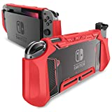 Mumba Dockable Case for Nintendo Switch, [Blade Series] TPU Grip Protective Cover Case Compatible with Nintendo Switch Console and Joy-Con Controller (Red)