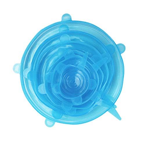 6-teiliges Set Silikon-Frischdeckel Haushaltsversiegelter Deckel Wiederholbarer Universaldeckel Für Lebensmittelschalen Frischhaltefoliendeckel Passform Verschiedene Behälterformen (Blau)