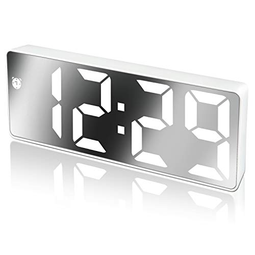 Edillas Reloj Despertador Digital,Pantalla LED de Números Grandes con Función de Repetición Brillo Cargador USB Despertador para Dormitorio Sala de Estar Oficina