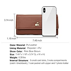 Wallets for Women Leather Ladies Purse Trifold Clutch Long Credit Card Holders Organizer Brown #2
