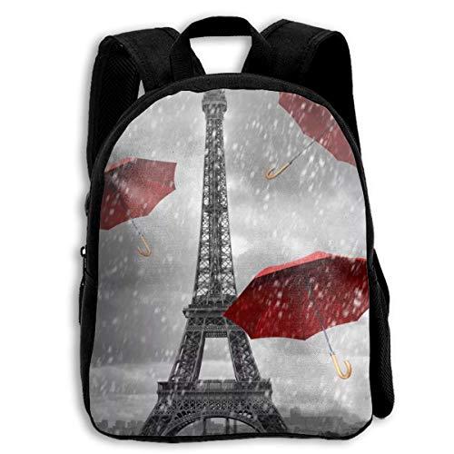 Paris Eiffelturm und roter Regenschirm Baby Kleinkind Kinder Rucksack Kleine Schultasche Reiserucksack Schultertasche Büchertasche für Kindergarten/Kindergarten/Vorschule