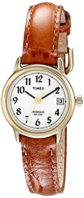 Timex Women's T2J761 Indiglo Leather Strap Watch, Honey Brown/Gold-Tone by Timex