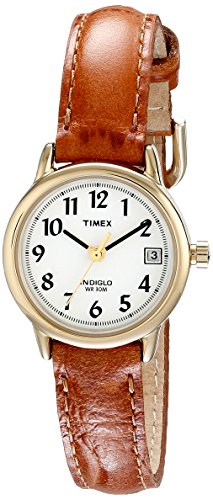 Timex Women's T2J761 Indiglo Leather Strap Watch, Honey Brown/Gold-Tone