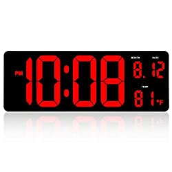 DreamSky 14.5 Large Digital Wall Clock with Date Indoor Temperature Display, Over Sized Desk Office Table LED Clocks with Fold Out Stand, Large Number Display, Plug in Clock with Auto DST
