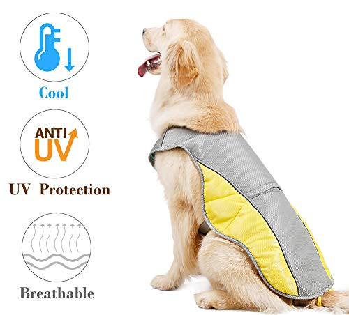 "Rantow Dog Cooling Vest Harness Outdoor Puppy Cooler Jacket Reflective Safety Sun-Proof Pet Hunting Coat, Best for Small Medium Large Dogs (XXL(Chest 29.2""-35.4""))"