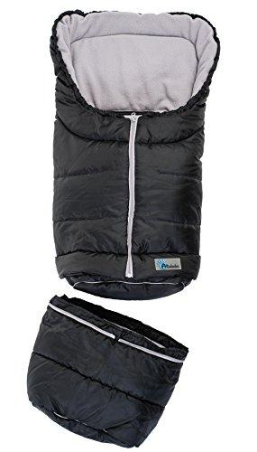 Altabebe AL2211-12 Winterfußsack 2 in 1 für Babyschale und Kinderwagen, schwarz/hellgrau