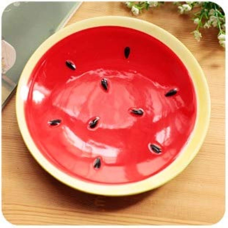 Fruit colorful Ceramic Rice Bowl Kids Soup Salad Bowl Spoon Plate Set Dessert Watermelon Style Tableware Instant Noodles Bowl   Plate A