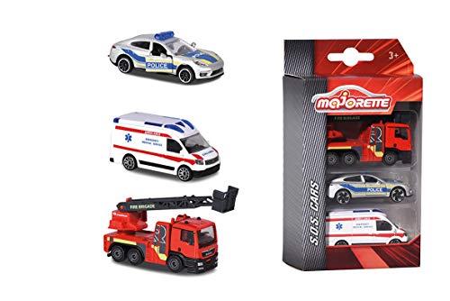 Majorette - Premium SOS Set 3 Pièces - Voitures Miniatures en Métal - Coffret 3 Véhicules de Secours - 212057261Q03