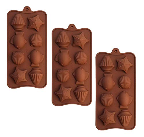 POPBLOSSOM Brown Silicone Mold for Chocolate Candy Seashell Shells Star Fish Tray 3 Molds