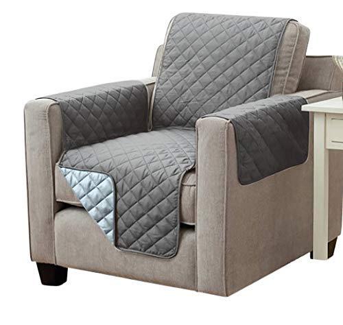 Sesselschoner Sofaschoner Sesselschutz Sofaüberwurf (1-Sitzer 191 x 165 cm, anthrazit/hellgrau)