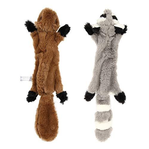 Nollary Hundespielzeug mit Quietschelement, kein Füllen, weiches Eichhörnchen und Waschbär, Plüschspielzeug mit Quietscher für Hunde, gegen Langeweile, 40,6 cm, 2 Stück