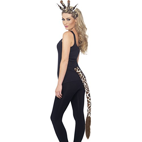Amakando Panoplie de Girafe Ensemble de Costume Oreilles et Queue de Girafe Costume d'animal Afrique Mignon Accessoires Déguisement