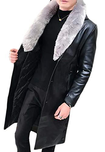 Oberora-Men Slim Faux Fur Collar Long Pu Leather Trench Coat Jacket Outwear Black L