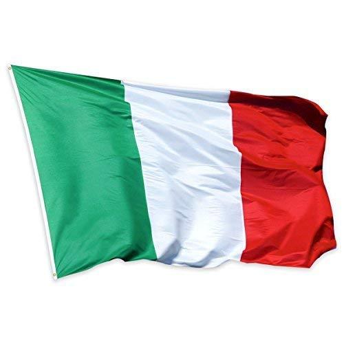 Bandera de Italia de calidad prémium de Fliyeong, 90 x 150 cm, bandera del mundo de la Copa del Mundo 2018, resistente a la intemperie, bandera italiana grande